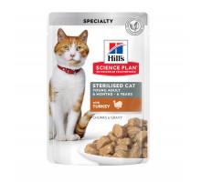 Science Plan Sterilised Cat влажный корм для кошек и котят от 6 месяцев, с индейкой, 85г