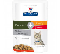 Prescription Diet Metabolic + Urinary Stress влажный корм для кошек с избыточным весом, с курицей, 85 г